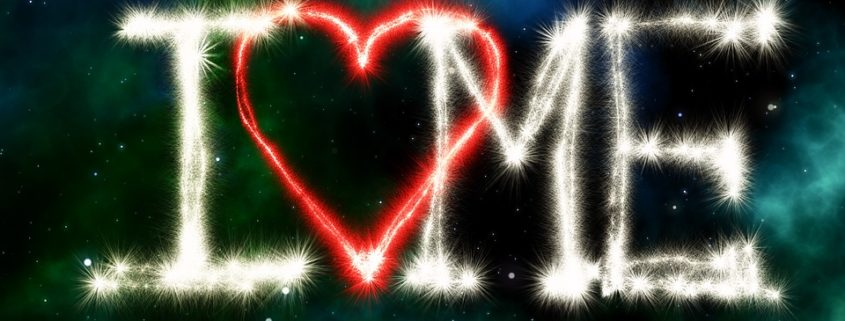 Image of the I (heart) Me written in fireworks.