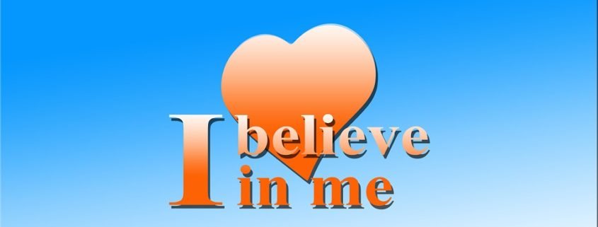 I believe in me text with heart in background for self-awareness