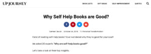 The Upjourney screen capture to the article on Why Self Help Books are good
