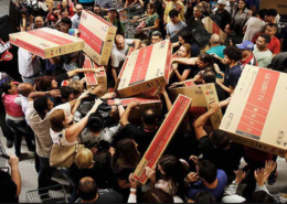 People fighting for gifts on Black Friday