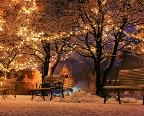 Benches in a park at night with holiday lights and snow on the ground