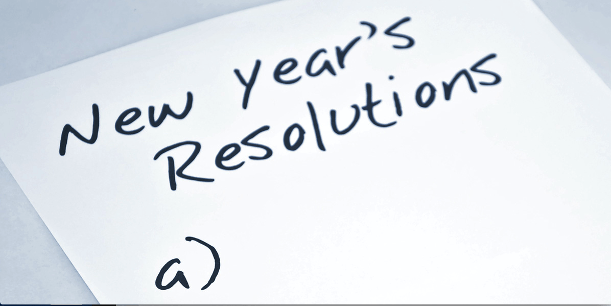 Memo pad with New Years resolutions and the letter a as a list blank.