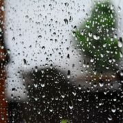 Water on window raining