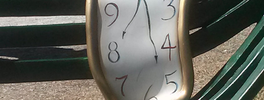 """Memory"" clock bench from Dali, Dali Museum St. Petersburg, FL"
