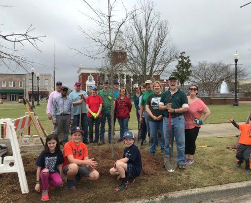 Group of people celebrating Arbor Day in Columbus, GA 2019