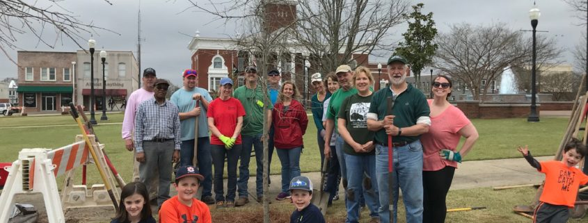 Group of people celebrating Arbor Day in Columbus, GA 2019