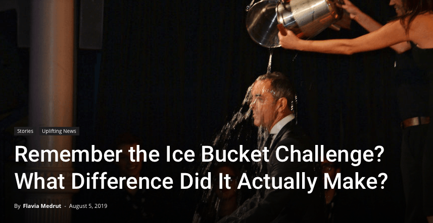 The image of a man getting a bucket of ice water dumped on his head