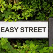 Easy Street sign with trees