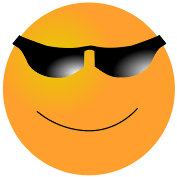 Smiling face wearing cool sunglasses